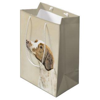 Brittany Painting - Cute Original Dog Art Medium Gift Bag
