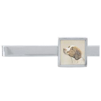 Brittany Painting - Cute Original Dog Art Silver Finish Tie Bar