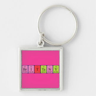 Brittany periodic table name keyring Silver-Colored square keychain