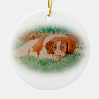 Brittany puppy ornament
