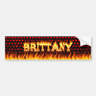 Brittany real fire and flames bumper sticker desig