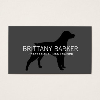 Brittany Silhouette Black on Grey Business Card
