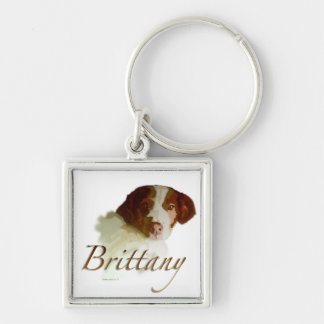 Brittany Silver-Colored Square Keychain