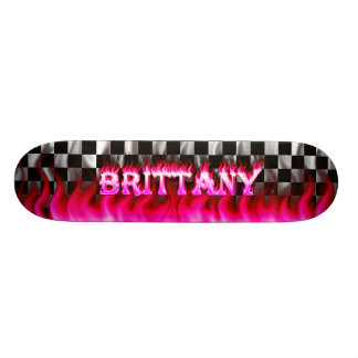Brittany skateboard pink fire and flames design.