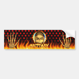 Brittany skull real fire and flames bumper sticker