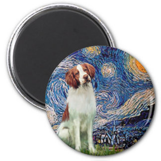 Brittany Spaniel 3 - Starry Night 2 Inch Round Magnet