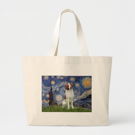 Brittany Spaniel 3 - Starry Night Large Tote Bag