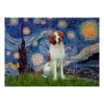 Brittany Spaniel 3 - Starry Night Poster