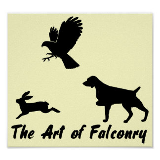 Brittany Spaniel and Falconry Poster