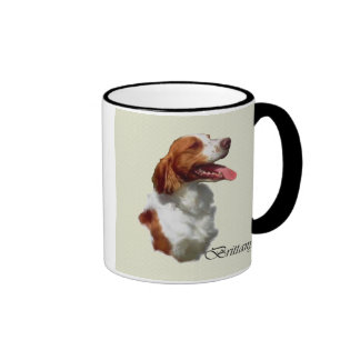 Brittany Spaniel Art Gifts Ringer Coffee Mug