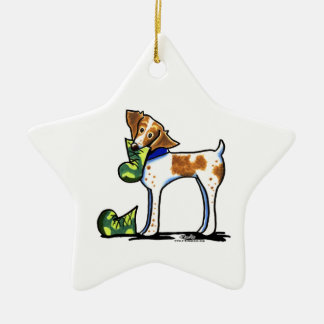 Brittany Spaniel Camouflage Boots Ceramic Ornament