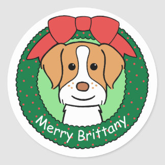 Brittany Spaniel Christmas Classic Round Sticker