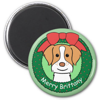 Brittany Spaniel Christmas Refrigerator Magnet
