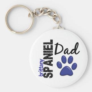 Brittany Spaniel Dad 2 Basic Round Button Keychain
