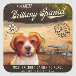 Brittany Spaniel Dog Art Poster–I Run To Greet You Square Sticker