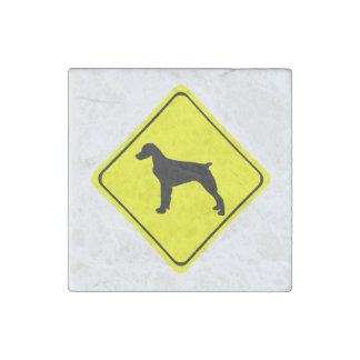 Brittany Spaniel Dog Caution or Crossing Sign Stone Magnet