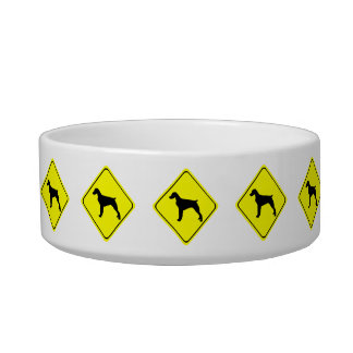 Brittany Spaniel Dog Caution or Crossing Sign Pet Bowls