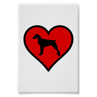 Brittany Spaniel Heart Love Dogs Silhouette Poster