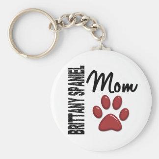 Brittany Spaniel Mom 2 Basic Round Button Keychain