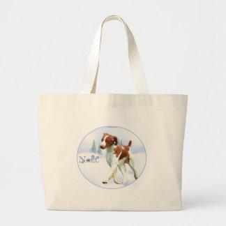 Brittany Spaniel Noel Canvas Bag