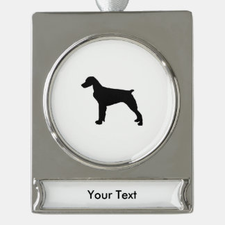 Brittany Spaniel Silhouette Love Dogs Silhouette Silver Plated Banner Ornament