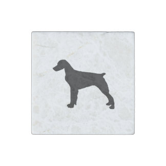 Brittany Spaniel sporting hunting dog Silhouette Stone Magnet