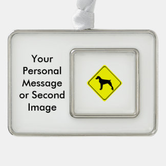Brittany Spaniel Warning Sign Love Dogs Silhouette Christmas Ornament