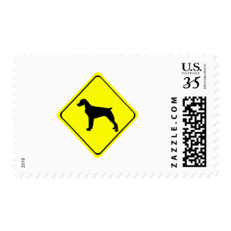 Brittany Spaniel Warning Sign Love Dogs Silhouette Postage