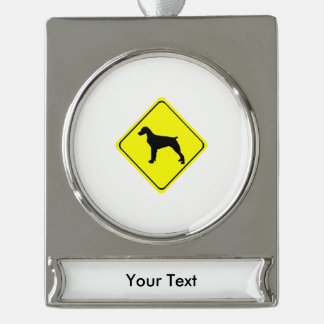 Brittany Spaniel Warning Sign Love Dogs Silhouette Silver Plated Banner Ornament
