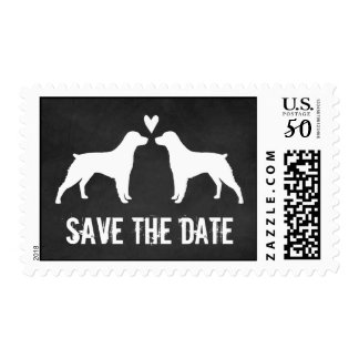 Brittany Spaniels Chalkboard Wedding Save the Date Postage