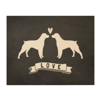 Brittany Spaniels Love - Dog Silhouettes w/ Heart Wood Print