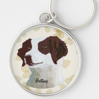Brittany ~ Tan Leaves Motiff Silver-Colored Round Keychain