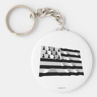 Brittany Waving Flag Basic Round Button Keychain