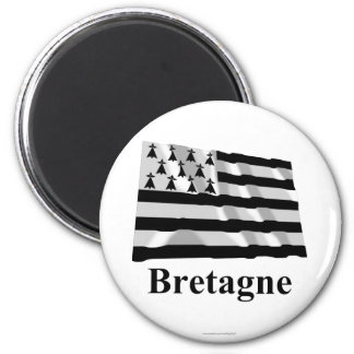 Brittany Waving Flag with Name in French Magnets