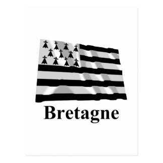Brittany Waving Flag with Name in French Postcard