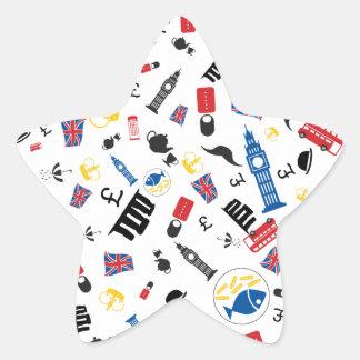 Brittish icons - colourfull pattern on white. star sticker