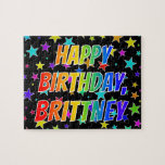 "[ Thumbnail: ""Brittney"" First Name, Fun ""Happy Birthday"" Jigsaw Puzzle ]"