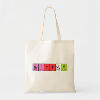 Brittney periodic table name tote bag
