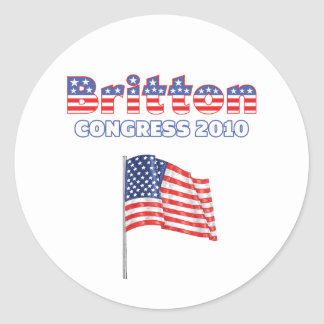 Britton Patriotic American Flag 2010 Elections Classic Round Sticker
