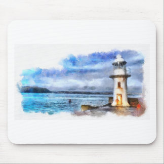 Brixham Lighthouse Watercolour Mouse Pad