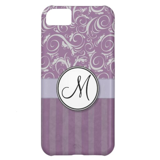Briznas y rayas florales de la lavanda con el mono funda para iPhone 5C