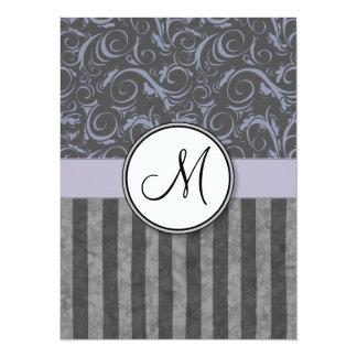 Briznas y rayas florales grises de la lavanda con