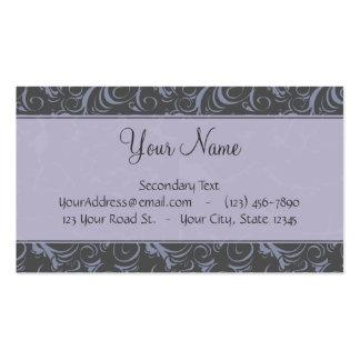 Briznas y rayas florales grises de la lavanda con  tarjetas de visita
