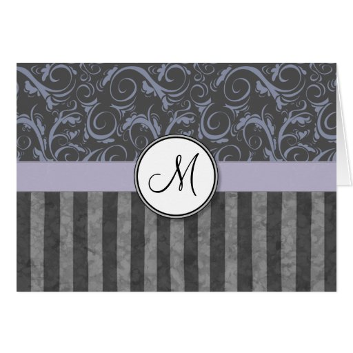 Briznas y rayas florales grises de la lavanda con  tarjeta de felicitación