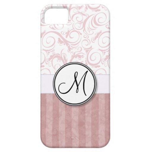 Briznas y rayas florales rosadas con el monograma iPhone 5 cárcasa