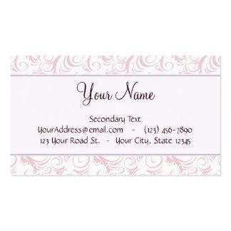 Briznas y rayas florales rosadas con el monograma tarjetas de visita