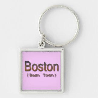 Brn de Boston (ciudad de la haba) Llavero Cuadrado Plateado