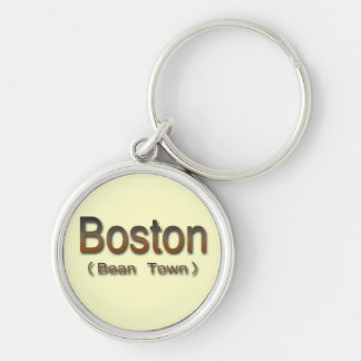 Brn de Boston (ciudad de la haba) Llavero Redondo Plateado