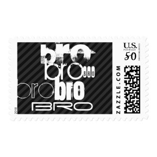 Bro; Black & Dark Gray Stripes Postage