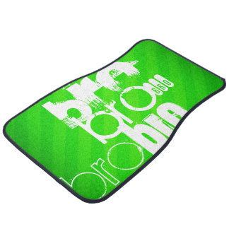 Bro; Neon Green Stripes Car Mat